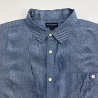 Banana Republic Button Up Shirt Mens XL Blue White Stripe Short Sleeve Casual