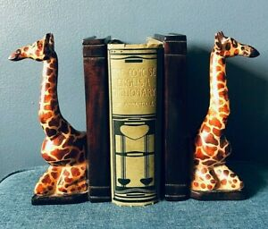 African Hand-carved Solid Wood Giraffe Book-Ends