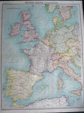 1922 LARGE ANTIQUE MAP-WESTERN EUROPE-POLITICAL