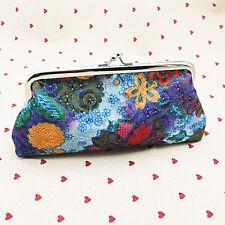 Women Floral Delicate Clutch Wallet Purse Long Handbag Coin Cash Cotton Holder