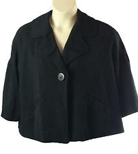 Womens Newport News Black Jacket Size 14W Snap Front Elbow Length Sleeve Lined