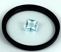 Brazilian Princess Cut Aquamarine 3.60 Ct 100% Natural Gemstone Certified DF60