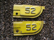 1951 51 1952 52 CALIFORNIA CA LICENSE PLATE TAB TAG ONLY SWEET PAIR SET 2