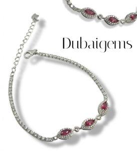 White gold finish Pink Tourmaline and created diamond Marquises Cut bracelet