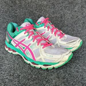 Asics Gel Kayano 21 Womens White Pink Teal Green Running Athletic Shoes Size 8.5