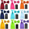 Men Solid Bowtie 8cm Wide Necktie Tie 4 Folds Pre-folded Pocket Square Hanky Set