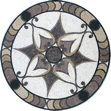 "28"" HandMade Art Tile Stone Patterns Medallion Floral Decor Marble Mosaic"