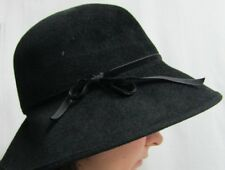 New Helen Kaminski Australia Fedora Cloche Black Hat Winter Bow Rabbit Felt Logo