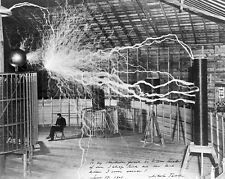 Nikola Tesla Genius Scientist w/ Electric Transmitter Coil 8x10 Canvas Print