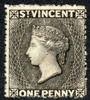 St Vincent 1872 black 1d watermark small star sideways  perf 15 mint SG18