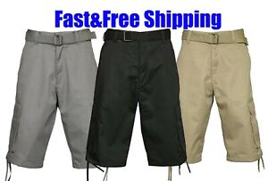 CARGO SHORTS Casual Twill Multi Pockets Cotton Poly BELTED Heavyweight 32 - 44