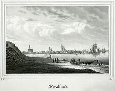 Saxonia - STRALSUND / Panorama - Lithografie 1836