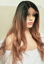 blonde human hair Lace Front wig Ombre Pink Wig, lace front Centre Part Pink Wig