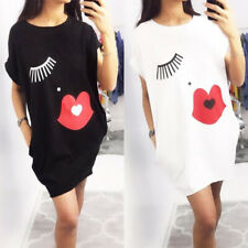 UK Womens Eyelash Lip Casual T Shirt Dresses Ladies Summer Beach Mini Dress 6-16