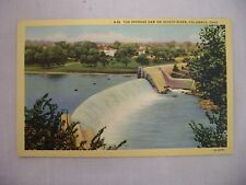 VINTAGE LINEN POSTCARD OF THE STORAGE DAM ON SCIOTO RIVER IN COLUMBUS, OHIO