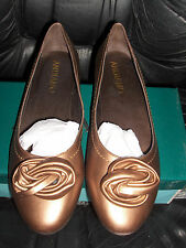 ANDIAMO SIZE 9 KID LEATHER SHOES LOW PUMPS BRONZE METAL SLIP ONS BOW NEW