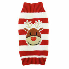 Christmas Dog Red & White Reindeer Soft & Warm S/M Jumper Pets Xmas Gift New