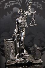 Justitia Figur Visitenkartenhalter 21cm Deko Göttin Recht Anwalt Silber Jura