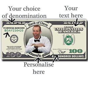 Personalised Dollar Bills Fun Money Play Money Birthday Fake Cash Novelty 100