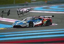 Marino Franchitti & Andy Priaulx mano firmado Ford GT 12x8 Foto 2016 Le Mans.