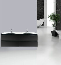 VANITY BATHROOM 1500mm Wall Mount UNIT Black WITH FREE FAUCET WITH 4XDRAWER New