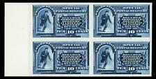 US #E1P4; 10¢ SPECIAL DELIVERY PLATE PROOF ON CARD , SUP-NGAI-NH, LM BLOCK OF 4
