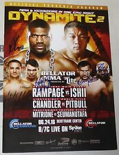 Rampage Jackson Michael Chandler +4 Signed Bellator Dynamite 2 Program BAS COA