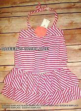 Nwt Baby Gap Girls 12-18 Months Flower Pink Striped halter Dress & Panties 2pc