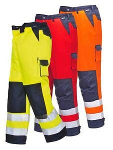 PORTWEST Lyon Hi Vis Trousers Work Knee Pad Pockets Elastic Waist Safety TX51