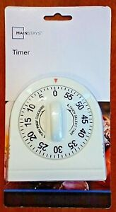 Mainstays White Mechanical Kitchen Cooking Timer Wind Up Bell Sound - NEW IN BOX