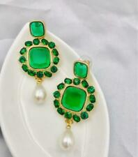 Signed  OSCAR DE LA RENTA  Green Crystal & Faux Pearl Clip Statement Earrings