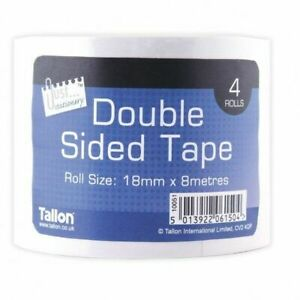 4x Heavy Duty Transparent Double Sided Strong Adhesive Tape Glue 18mm x 8m UK