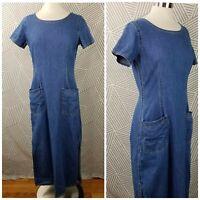 Vintage Liz Claiborne Size 10 Overall Dress Jean Denim Long Jumper Modest Maxi