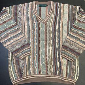 Vintage Tundra Sweater XL Coogi Style Multi Color Streetwear Fashion Hip Hop