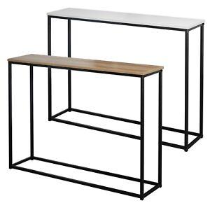 Wooden Free Standing Hallway Console Table Living Room Shelf Display Metal Legs
