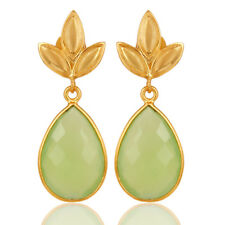 Chalcedony Leaf Designer Silver 18k Gold Plated Dangle Earrings Jewelry