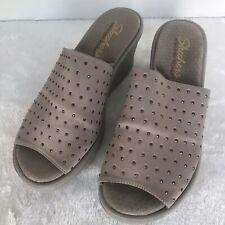 Skechers Womens Size 7 Pink Beige Slip on Slides Open Toe Wedges 38561