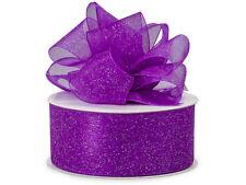 "Purple Sugar Glitter Organza Ribbon 1-1/2""x25 yards Christmas Holiday Weddings"