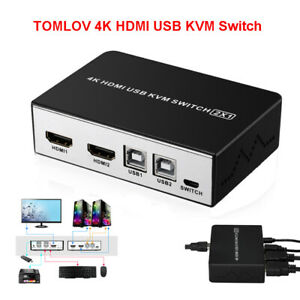 2 in 1 HDMI KVM Switch Video HD USB Splitter Switcher Monitor with Button Switch