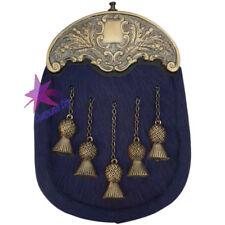 Cc Full Kleid Kilt Sporran Marineblau Bovine Distel Cantle Antik / Kilt Sporran