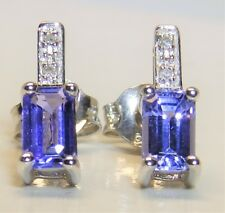 9CT WHITE GOLD 0.5CT TANZANITE  DIAMOND STUD EARRINGS 9 CARAT  BAGUETTE