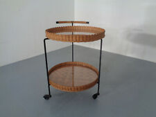Mid-Century Rattan and Glass Serving Bar Cart 1960s