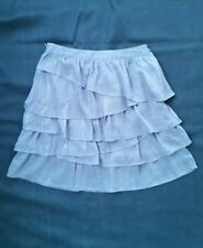 NewH&M silver pinstripe grey chiffon tiered skater skirt fitted waistband size 6