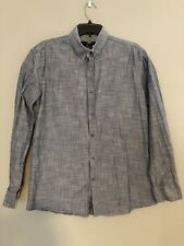 Steel & Jelly Mens Shirt Large Blue Long Sleeve Flip Cuffs Button Down EUC