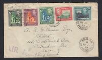 St Vincent Air Mail cover displaying five King George VI stamps 1952 Kingstown