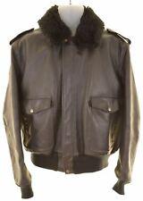 SCHOTT Mens Aviator Leather Jacket EU 46 Small Black Leather  KZ21