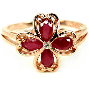 GENUINE AAA BLOOD RED RUBY & WHITE CZ STERLING 925 SILVER FLOWER RING SIZE 6.75