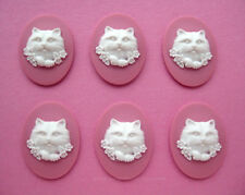 Flowers on Pink 40mm x 30mm craft Cameos 6 new unset White Cat Kitten feline &