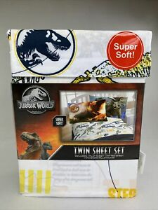 Jurassic World Twin Sheet Set Super Soft Dino Dinosaur Kids Boys New