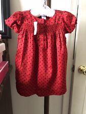 BABY GAP Toddler Girl's Dress 12-18 Months Red & Black Polka Dot Christmas Lined